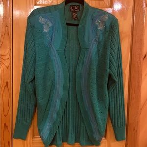 Green embellished sweater size large
